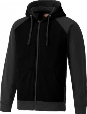 DICKIES SH3009 TWO TONE ZIPPED HOODIE BLACK GREY  SH3009BG
