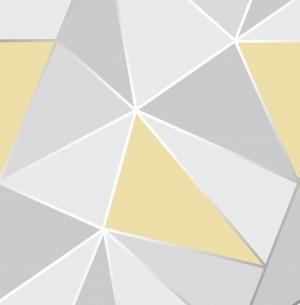 Apex Geo Sidewall Wallpaper - Yellow Grey  FD41991