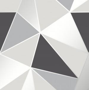 Apex Geo Sidewall Wallpaper - Black Silver  FD41994