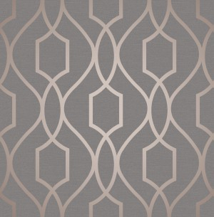 Apex Trellis Sidewall Wallpaper - Copper Charcoal  FD41998