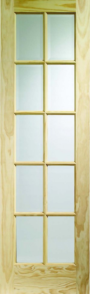 XL JOINERY DOORS -  GCPSA24  Internal Clear Pine SA77 with Clear Glass (10 Light)  GCPSA24