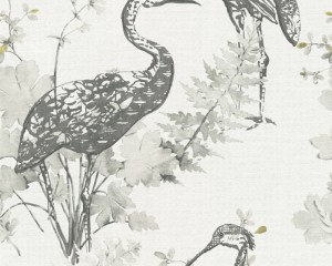 A S Creation Wallpaper - Four Seasons Heron Charcoal Mustard