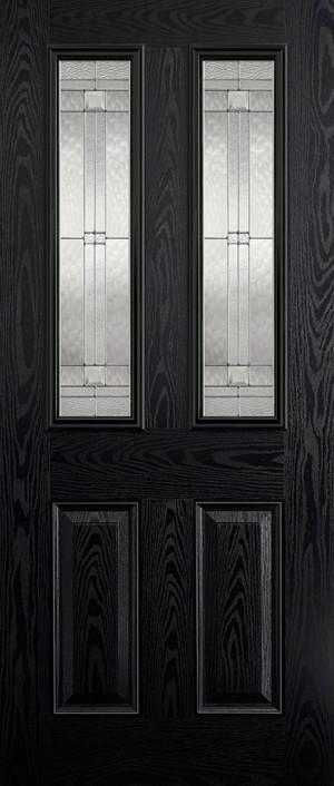 "LPD - External Door - GRP Malton Black Glazed 2L 1981 x 838 (33"")  GRPMALBLA33"