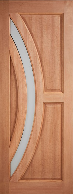 "LPD - External Door - Hardwood Harrow Frosted Glazed 1981 x 762 (30"")  MTHARFGDG30"