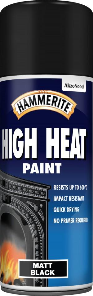 Hammerite Hi-Heat Paint Matt Black Aerosol 400ml