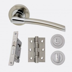 LPD - Internal Door - Ironmongery Mercury Privacy Handle Hardware Pack 214 x 208 mm  HARDMERPRI