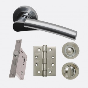 LPD - Internal Door - Ironmongery Neptune Privacy Handle Hardware Pack 214 x 208 mm  HARDNEPPRI