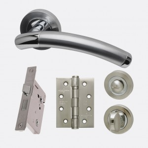 LPD - Internal Door - Ironmongery Saturn Privacy Handle Hardware Pack  214 x 208 mm  HARDSATPRI