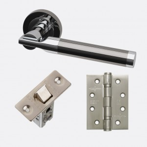LPD - Internal Door - Ironmongery Vega Polished/Black Chrome Handle Hardware Pack 230 x 160 mm  HARDVEG