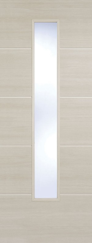 "LPD - Internal Door - Ivory Laminated Santandor Glazed 1981 x 838 (33"")  LAMIVOSANGL33"