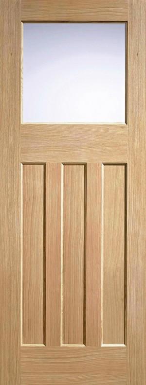 """LPD - Internal Door - Oak DX 30s Style Glazed 1L 1981 x 686 (27"""")  PPDXG27OAK"""