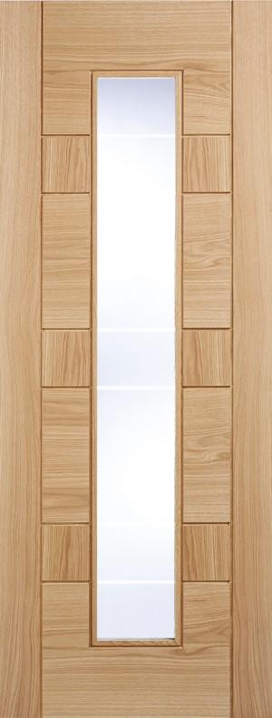 """LPD - Internal Door - Oak Edmonton Glazed 1L Clear With Frosted Lines 1981 x 686 (27"""")  EDMOAKGL27"""
