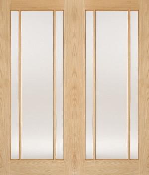 LPD - Internal Door - Oak Lincoln Glazed 3L Pairs 1981 x 1372 mm  OPRSLIN54