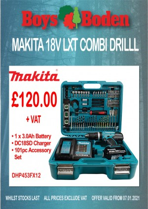 Makita DHP453FX12 18v LXT Combi Drill with 1 x 3.0Ah Battery Charger & 101 Piece Accessory Set