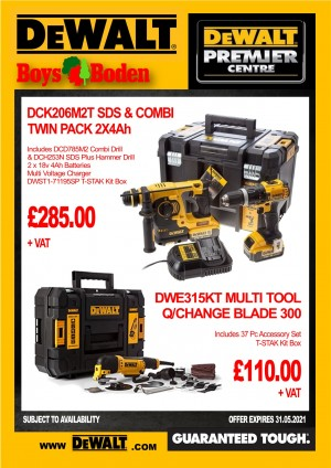 DeWalt DCK206M2T SDS with Combi Twin Pack & DWE315KT Multi Tool