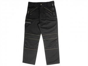 Black Multi Zip Work Trousers  RNKMZT3031