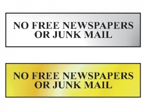 No Free Newspapers Or Junk Mail Sign  SCA6023C_GROUP