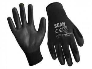 Black PU Coated Gloves  SCAGLOPU12