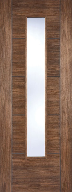 "LPD - Internal Door - Walnut Laminated Vancouver Glazed 1981 x 838 (33"")  LAMWALVANGL33"
