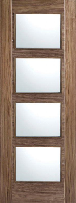 "LPD - Internal Door - Walnut Vancouver Glazed 4L 1981 x 610 (24"")  WALVAN4L24"