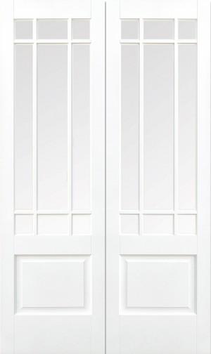 LPD - Internal Door - White Downham Glazed 9L Pair 1981 x 1067 mm  WFPRSDOWCG42