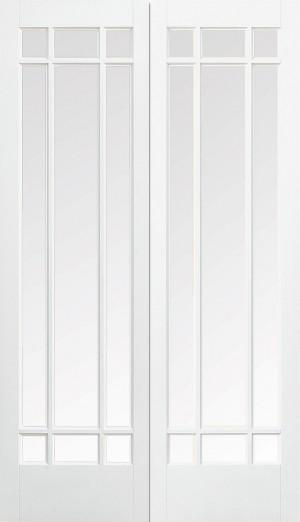 LPD - Internal Door - White Manhattan Glazed 9L Pair 1981 x 1219 mm  WFPRSMANCG48