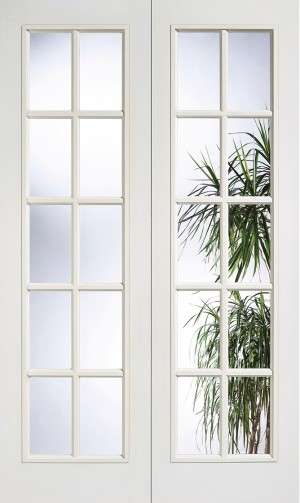LPD - Internal Door - White Moulded SA 10L Glazed Pair 1981 x 1168 mm  W20L46