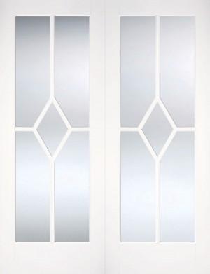 LPD - Internal Door - White Reims Glazed Pair 1981 x 1067 mm  WFPRSREICG42