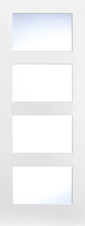 "LPD - Internal Door - White Shaker Glazed 4L 1981 x 838 (33"")  WFSHAKER4L33"