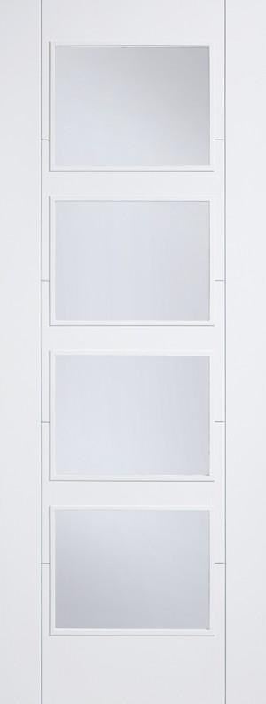 LPD - Internal Door - White Vancouver Glazed 4L Clear 2040 x 826 mm  WFVAN4L826