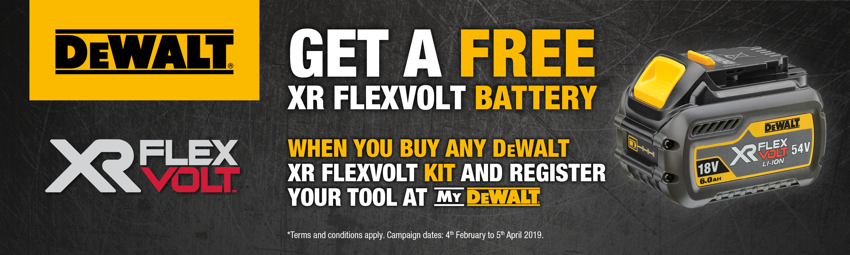 dewalt promotion, free battery, special offer, tool promotion, free tool