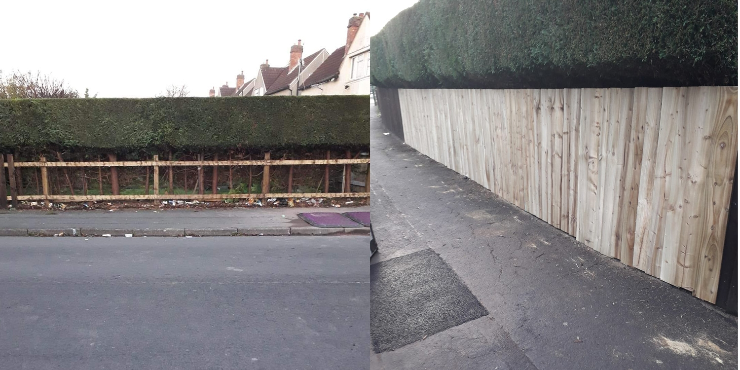 before and after, fence theft, shrewsbury theft