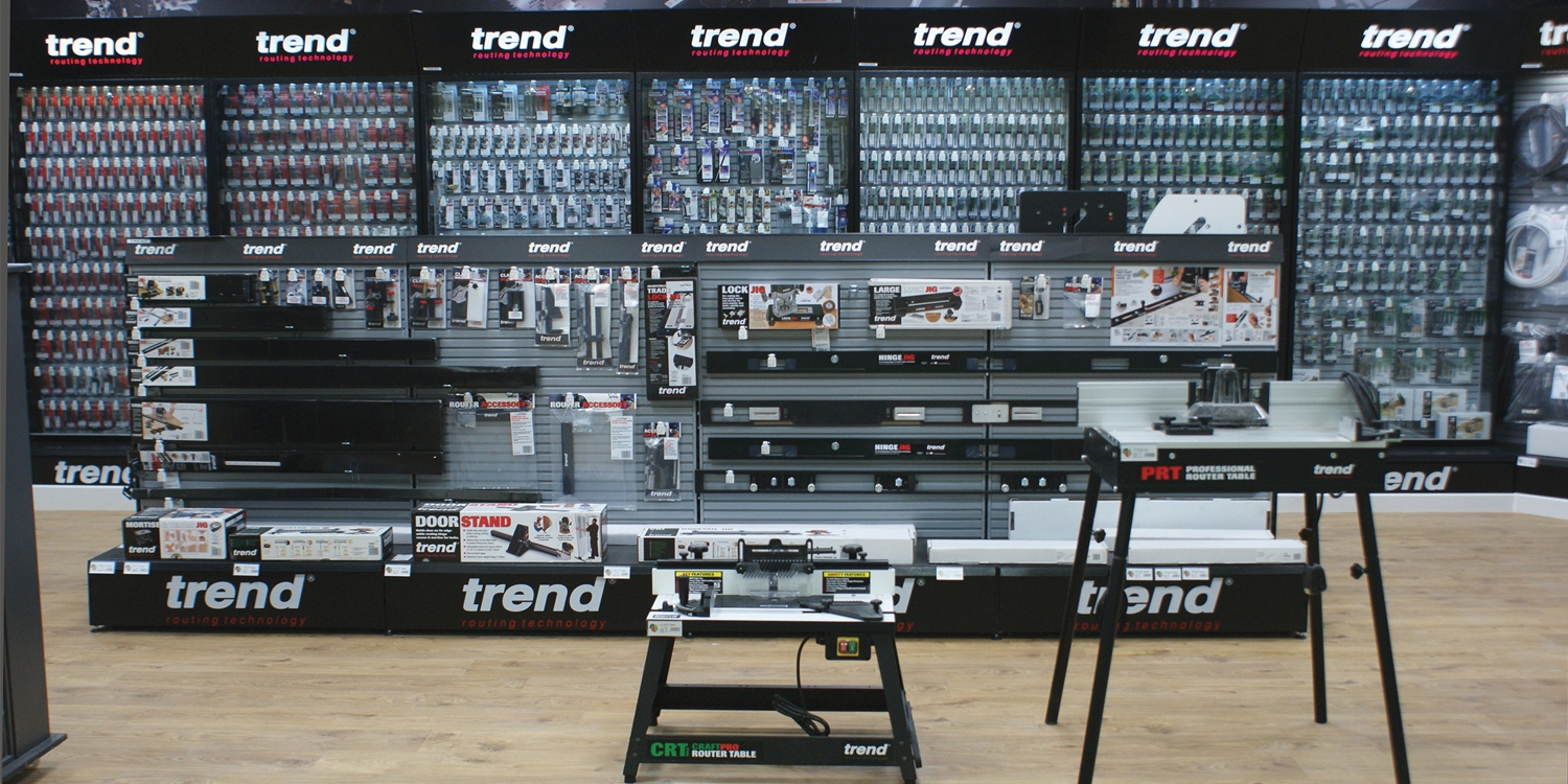 Trend routing products displayed in Chester Boys and Boden branches